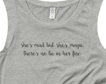 She's Mad But She's Magic Cap Sleeve Shirt - Women's Scoop Neck - Gray - Wild, Boho, Gypsy - Charles Bukowski - Created by Braymont Designs