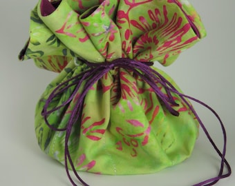 Travel Jewelry Bag Pouch with Drawstrings in Green Batik Print