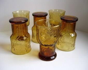 1960s amber drinking glasses Daisy glass tumblers