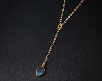 Gold Blue Labradorite Drop Necklace - Lariat - Long Pendant
