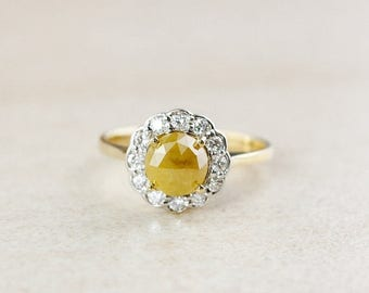ON SALE Flower Halo Diamond Ring - Vintage Inspired Engagement Ring - Rose Cut Yellow Diamond