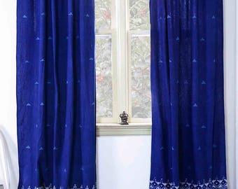 "Indigo curtains SAMPLE SALE window curtain Indigo blue bedroom - ONE Panel - 40""x84"" - block print Cotton Home and Living - Border Indigo"