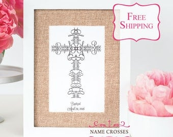 ORIGINAL Name Crosses Personalized Baby Baptism print - 5x7 - FREE SHIPPING