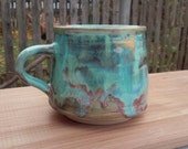 Handmade Pottery Mug Blue Runny Glaze Coffee Tea Ceramic Cup