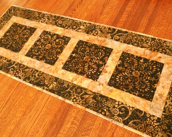 Modern Quilted Batik Table Runner in Black Brown Gold and Rust, Coffee Table Runner, Dining Table Decor, Quilted Table Topper