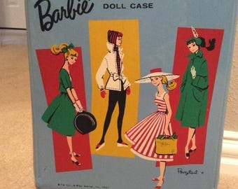 Vintage Ponytail Barbie Trunk Case/1961/vinyl/Blue/