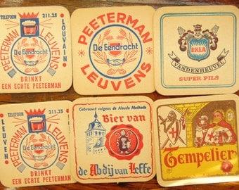 Vintage Belgian Beer Coasters 1960s Tempelier