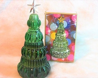 AVON Yuletree Field Flowers Vintage 70's Avon Bottle, Collectible Christmas Tree Glass and Plastic Bottle, Avon Cologne Christmas Tree
