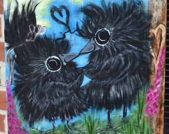 Baby Bird/Crow Art, Nature/Sun/Love, Original Acrylic Painting, Wood Panel, First Kiss