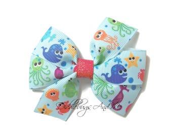 Under The Sea Hair Bow, Beach Hair Bow, Girls Summer Hair Bow, Sea Creatures Bow, Hair Bows For Girls, Pinwheel Bows, Piggy Tail Hair Bows,