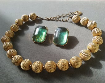 Lisner Vintage Choker Necklace  Clip On Earrings  Exotic Set Demi Parrure