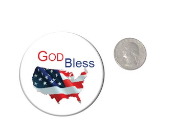 God Bless America Refrigerator Magnet  2 1/4 inches in diameter  Fridge Magnet Patriotic