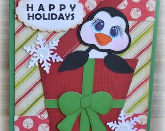 Penguin Christmas Present Handmade Paper Piecing 3D Greeting Card