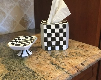 Ceramic clay tissue box hand painted in black and white checks with soap dish to match for bathroom decor