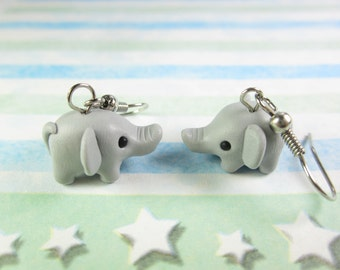 Elephant Earrings, elephant jewelry, cute dangle earrings, charm, animal earrings, elephant gift, womens gift for her, polymer clay, gray
