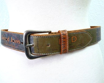 Vintage Genuine Leather Belt The Limited Jeans Sings 1963 Silver buckle size M