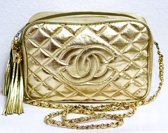 Vintage CHANEL Gold Leather Purse Tassel Quilted CC Gold Chain Crossbody bag