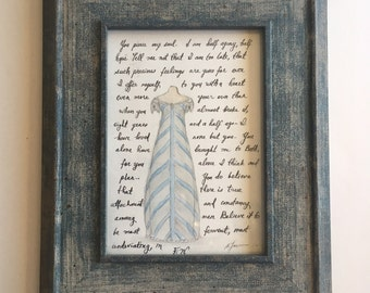 Captain Wentworth's Letter ams Evening Gown. Original Watercolor Painting.  Framed.