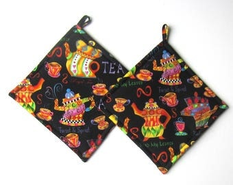 Twisting and Royal Dancing Teapots Pot Holders Set of Two