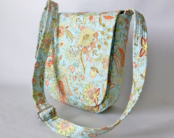 Messenger Bag Ipad Bag Travel Bag Hipster Cross Body Adjustable Strap Vera Bradley Type Floral Peach Yellow Green Aqua