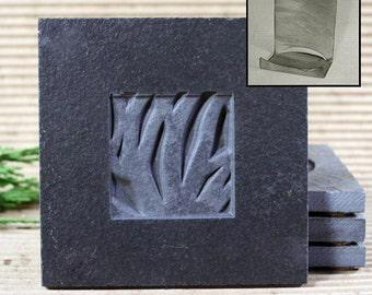 Real Etched Stone Coaster Set with Holder - Woodland on Ebony Slate