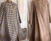 Glamorous Vintage 50's Era Reversible Boucle Sweater Knit Swing Coat -- Herringbone Pattern -- Size M