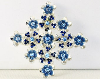 Vintage Silver Tone Blue Rhinestone Floral Brooch Pin (B-2-5)