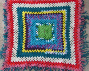 Cute Vintage Fringed Hand Crocheted Scarf