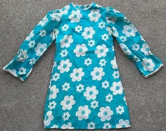 Girls size 10 flower power mod 60s dress