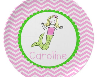 Personalized Melamine Plate for Kids / Mermaid Girl Custom Plate Bowl Placemat in Pink & Green