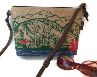 MTO. Custom. Burlap Crossbody Bag. Repurposed Maui Coffee Sack. Handmade in Hawaii by Manila Extract.