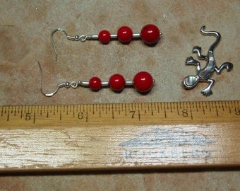 Natural AAA Red Coral, 925 Silver Earrings
