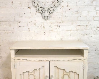 Painted Cottage Chic Shabby Hand Made Farmhouse Media Cabinet SV626