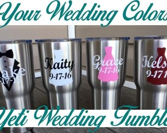 Silver 30oz Yeti Wedding Party Tumbler Personalized In The Color Of Your Choice.