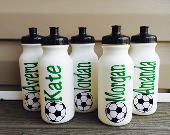 LOT OF 5 - Personalized Plastic Sports Water Bottles Basketball Soccer Football Tennis Many COlors To Choose From