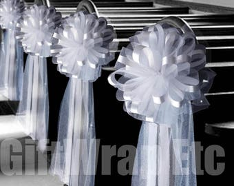 "6 Large 10"" White Assembled Pew Bows Tulle Satin Wedding Church Decorations"