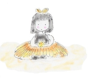 Princess Ballerina Buttercup Childrens Matted Print
