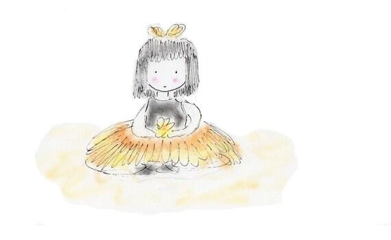 Princess Ballerina Buttercup Childrens Matted Print