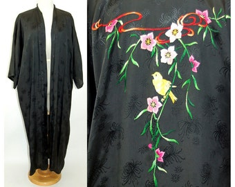 Vintage Chinese robe embroidered black rayon robe Golden Bee 1960s/1970s