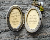 Blackbird singing in the dead of night take these broken wings and learn to fly - Song Quote Locket - Women's Locket