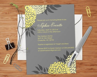 Gray & Gold Dahlias - PRINTABLE Custom Bridal or Baby Shower, or Party Invitation