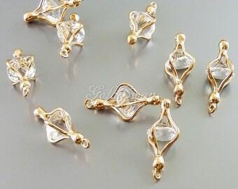 2 rose gold encased crystal glass jewel pendants, rose gold clear glass jewel necklace pendant 5088RG-CL (rose gold, clear)