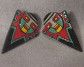Vintage 70s, Tribal Mask Earrings, Hand Painted, Pierced Ear, Lightweight, Celluloid Plastic, Beautiful Color, Ethnic, African, Southwestern