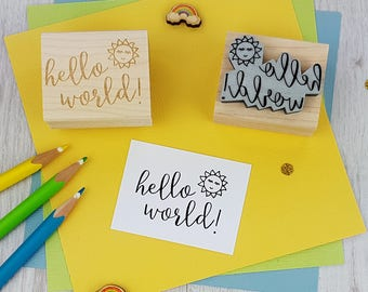Hello World Rubber Stamp  - New Baby Stamp - Baby Shower Stamper - Sun Stamp - New Arrival Stamp - Christening - Baptism Invites Invitations