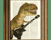 Cousin Carl Shreds t-rex with guitar Dinosaur art print beautifully upcycled dictionary page book art print
