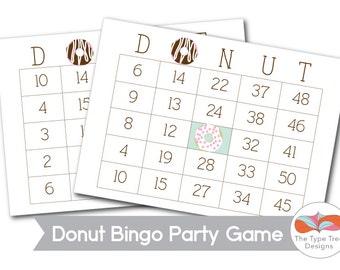Donut Bingo Party Game Printable