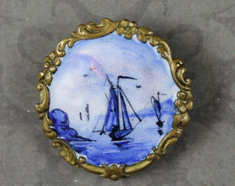 Vintage Blue and White Enamel Sailing Scene Gold Round Brooch