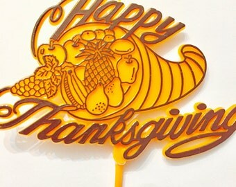 Happy Thanksgiving Cake Topper Pick 9""