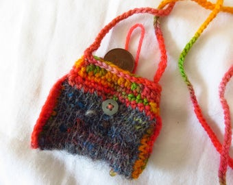 Scrapped Taffy - Handspun, handknit and crochet pouch