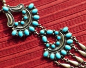 Long Navajo Sterling Silver Petit Point Turquoise Bench Bead Pendant Necklace